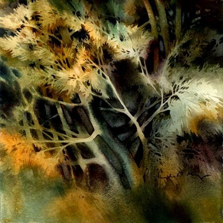 fuckyeahwatercolor:  Sunlight Did Kiss the Trees by Linda Kemp