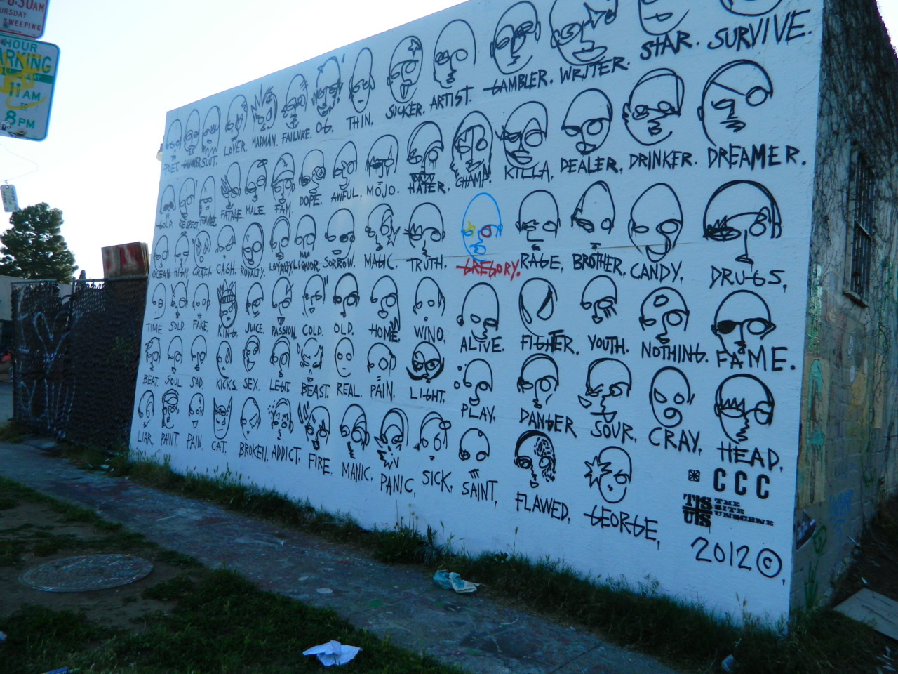 Wall of faces. Melrose Los Angeles