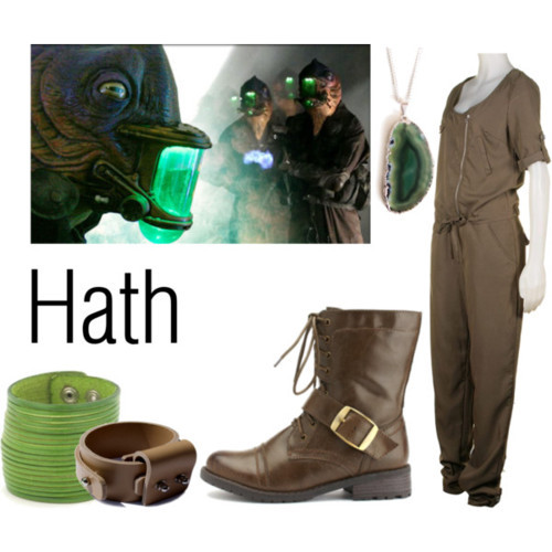 "Hath from ""The Doctor's Daughter"" companionclothes:  Vila brown jumpsuit, £20Charlotte Russe buckle shoes, $40Leather bangle, $16Sarolt handmade leather jewelry, €35Agate jewelry, €30"