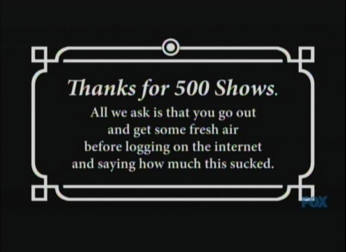 Shown near the end of the 500th episode of the Simpsons on Sunday, February 19th, 2012.