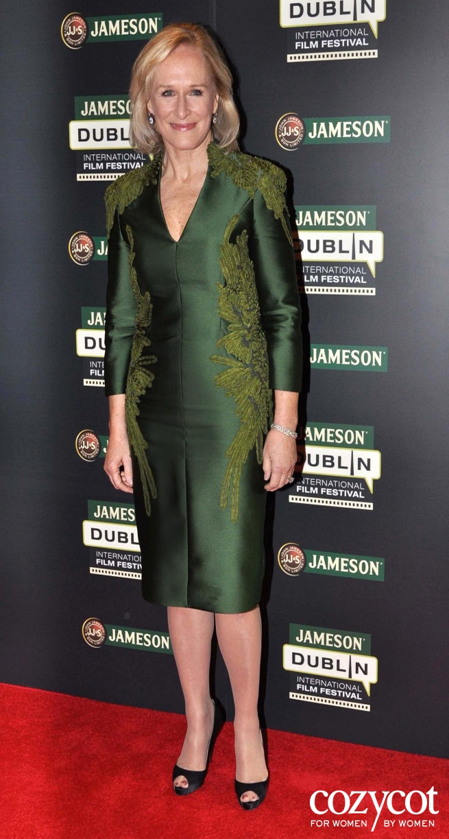 Glenn Close In Ireland at the Opening of her Film Albert Nobbs  in a Bibhu Emerald dress By Bibhu Mohapatra