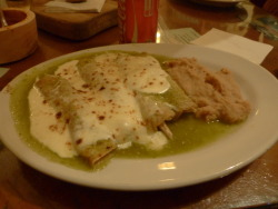 mexicanfoodporn:  Enchiladas verdes con crema y frijoles refritos en Guanajuato  Green Enchiladas with sour cream with refried beans in the city of Guanajuato  green enchiladas > all enchiladas