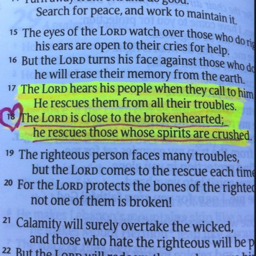 """The LORD is close to the brokenhearts; he rescues those whose spirits are crushed"" ~Psalm 34:18"