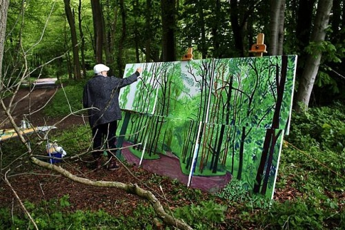 Watched a doc on David Hockney's new paintings. Love the multi-canvas use and the 9 camera grid idea. New insight on using the iPad. He is a babe. The paintings reminded me of the same lane that led up to my Grandmother's old farmhouse, so sweet. xxxxx x