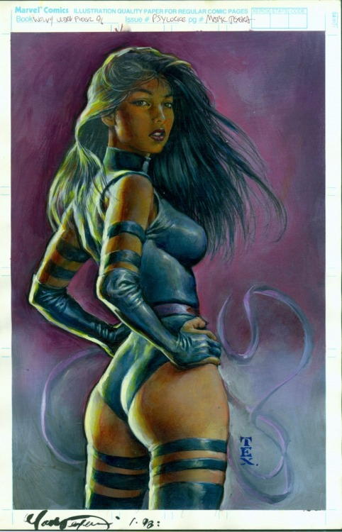 La pin-up del giorno: Psylocke, di Mark Texeira. comicbookwomen:  Mark Texeria