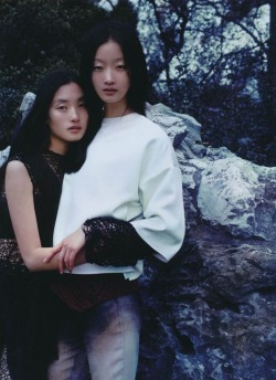 thedoppelganger:  Magazine: Numéro China January/February 2012Photographer: JmnModels: Lili Ji, Lina Zhang