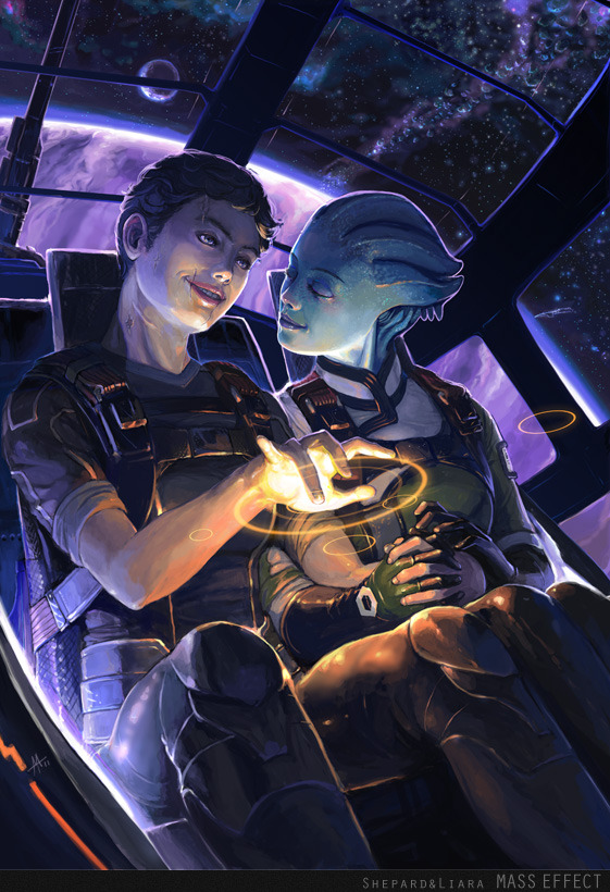 glossyglosoli:  Mass Effect - Shepard + Liara by ~onibox Reposting this adorable art by Onibox because it's amazing AND it may have something to do with the fact that my Shep has the short, curly ginger hair. Oops.
