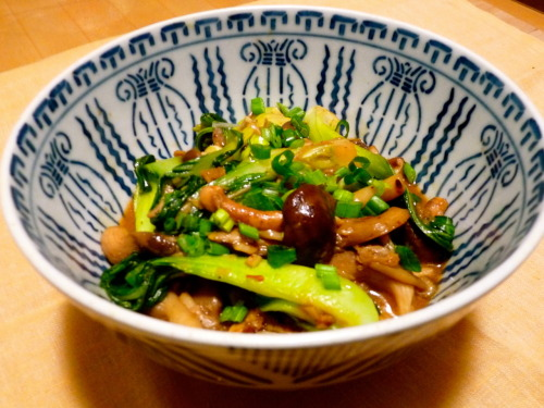 Mushrooms and Baby Bok Choy in Garlic Sauce I came up with this Chinese style dish when I was trying to find ways to use up the vegetables in my fridge last night. It makes a very satisfying meal when served with steamed white rice. If you want to increase the amount of protein, I would suggest cutting some chicken or pork into thin strips and adding that in. If you are going to add meat, make sure to cook it separately as you would with the mushrooms and bok choy and then add it in with the sauce at the end. Serves 4 Ingredients: 3 tbsp canola or grape seed oil 6 cups mixed shimeiji, enoki, shiitake and oyster mushrooms  7 baby bok choy, cut vertically into quarters  6 cloves of garlic, minced 2 teaspoons minced ginger 1 1/2 teaspoon tobanjan (chili bean sauce, available at any asian grocery store) 1/2 cup chicken stock 2 tbsp soy sauce 1/2 tsp sugar 1 tbsp rice wine vinegar 1 tsp corn starch 2 tsp water 2 scallions, chopped 1 tsp sesame oil Method: Heat 1 tbsp of oil over high heat in a wok or a large skillet. When the oil is very hot, add in the mushrooms and stir constantly for 5-6 minutes, until mushrooms are cooked through. Remove the mushrooms, draining them from their liquid with a slotted spoon and set aside. Discard the liquid. Wipe out pan and heat 1 tbsp oil over high heat again. Drop in the bok choy and stir fry until the green part has wilted and the stems are cooked but still crunchy, about 3 minutes. Remove bok choy from pan and set aside. Put remaining tablespoon of oil in the pan over low heat. Add ginger and garlic to the pan and stir constantly until fragrant. Add in tobanjan, stir for 1 minute more. Pour in soy sauce, rice wine vinegar, sugar and chicken stock and turn the heat back up to high. Let the sauce boil for 1 minute. Add back in the mushrooms and bok choy. Stir to combine and add the white part of the scallions. Combine the corn starch and water and stir into the pan. Stir in sesame oil. Remove from heat and transfer to a serving dish. Garnish with the tops of the scallions and serve with steamed white rice.