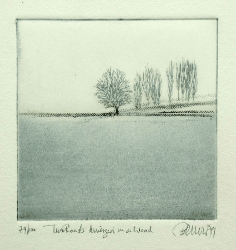 "Sheila Benow ""Two roads diverged in a wood"". 1979. More : http://sheilabenow.com/gallery_startup.htm"