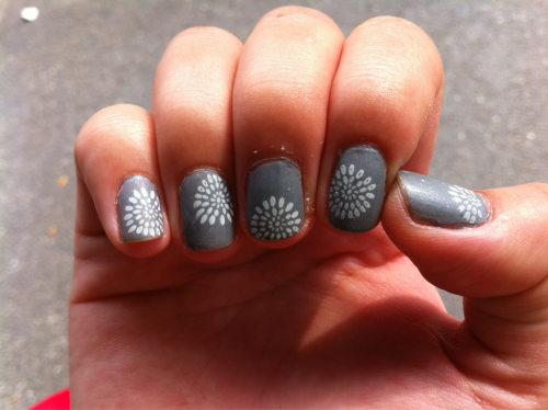 Fireworks stamp and some China Glaze matte top coat.