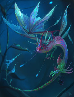 Faerie Dragon by *infraberry —- x —- [Click here for a Random Creature at CfD]