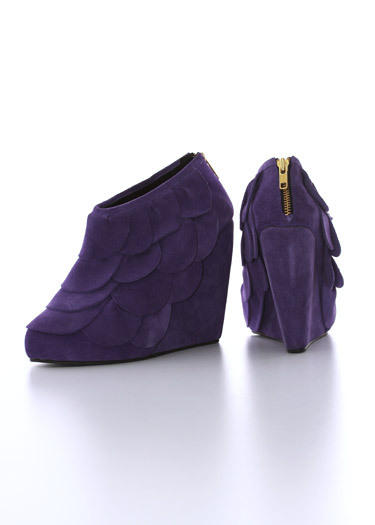 "Eat your vegetables. ""Vega"" Wedge Booties Inspiration: Artichoke Dreamt up: July 2007"