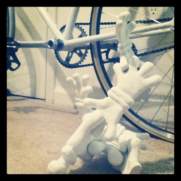 New plaster sculpture and my beautiful bike.