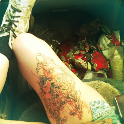 This is my thigh piece. Its beautiful and i love it.  My artists name was Hendo from Sacred Skins tattoos.  http://emptydreams.tumblr.com/