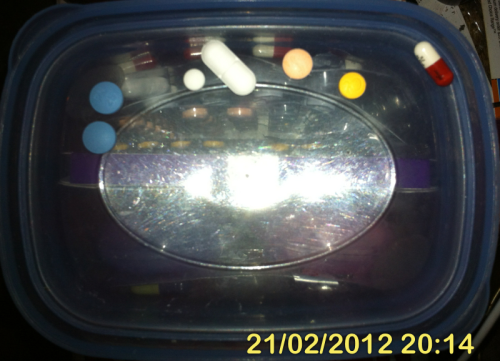 L-R: Phenergan 25mg x2, codeine phosphate 30mg, Panadeine Extra 15/450mg, Temaze 10mg, Endep 25mg, Lyrica 75mg  Oh, praise be, a sibling has stepped up for driving duty & I need no longer maintain any appreciable level of lucidity.