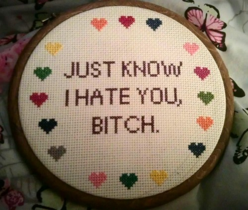 absolutelyhorrifying:  New cross stitch, because I love Easy A.