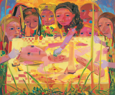 "ercheer:  Dana SchutzSurgery, 2004 Oil on canvas 75 x 91""  Dissection and dismemberment abound in Dana Schutz's work, all offset by sunny colors and a pert sense of humor. Among other things, she has created a race of people who eat themselves; a guy called Frank who is the last man on Earth; a gravity-phobic person who has tied herself to the ground; and a variety of characters that are spliced, for different reasons, on operating tables. Schutz loves to give her characters life and then cut them up. Yet hers is a blithe cruelty, the curiosity of a child playing at being a creator. Even when she hates, she does it with whimsy.  (Quote from Mei Chin, BOMB Magazine)"