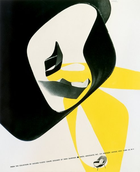 Knoll print advertisement designed c. 1957 by Herbert Matter