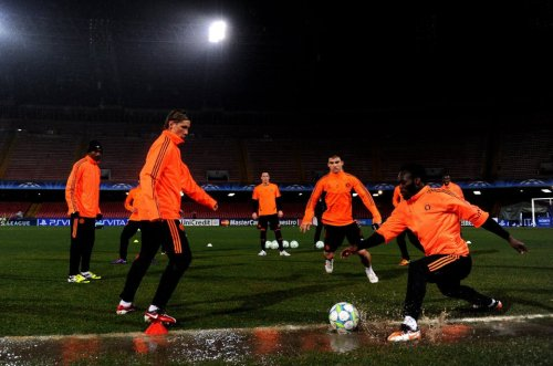 Pre Match Training - Napolo, 20/2/12 Michael Essien, Fernando Torres, Solomon Kalou, John Terry And Daniel Sturridge.