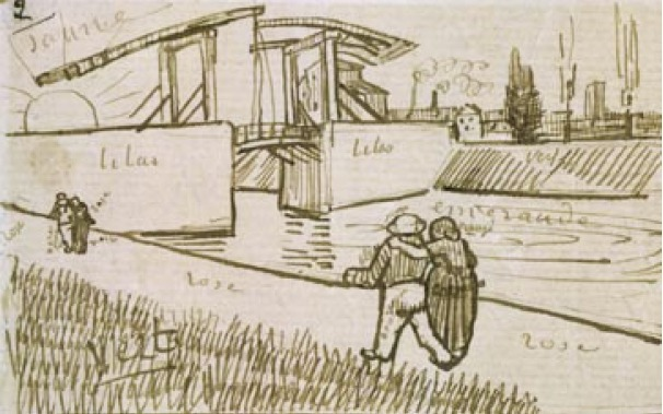 Van Gogh's drawing from a letter to Emile Bernard. Download a lovely Van Gogh museum catalogue from here.