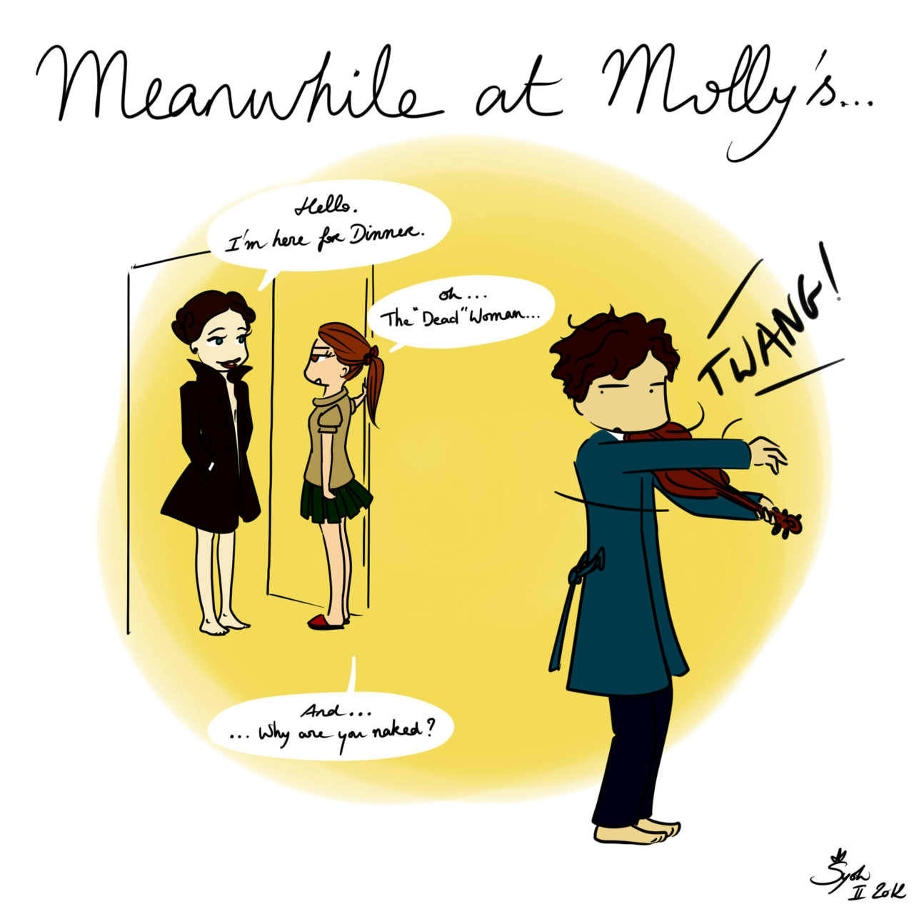 #4 Meanwhile at Molly's…  Because I'm wondering where is Sherlock & what he is doing while we built weird & absurd theories about his come-back. This had to be done… I'm sorry. Actually I'm not ;) I prefer Irene with her hair down but she hasn't seen sherlock for a long time & probably thought for a moment that he was dead… So she's in Evil mode… Hide your companions everybody the Dominatrix is here!