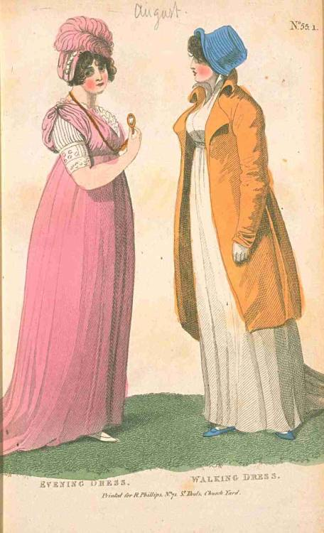 Fashions of London and Paris, Evening and Walking Dress, August 1802. Look at the amazing sleeves poking out of that evening dress!