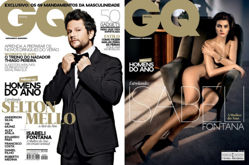 My last covers as Art Director of GQ Brasil #09 (December 2011), featuring Men of The Year awards. Selton Mello was the cover for newsstands, photographed in São Paulo by Mauricio Nahas (one of the best ones I've worked with during my consultancy at GQ). I think there is too much text on int, what reduces the impact of a special issue suck as Men Of The Year, but it was a editorial decision. The other cover, with Isabeli Fontana photographed by Vincent Peters, was only for subscribers. In that case the board decided to remove all the other headlines. Both were printed with gold pantone.