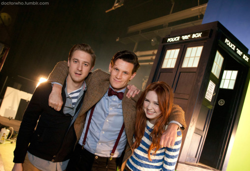 doctorwho:  Here's the very first photo of Matt, Arthur, and Karen on set and in costume for Doctor Who Series 7! Click the pic above to confirm their adorableness in high res. There will be more Behind-the-Scenes from Doctor Who in the coming weeks thanks to the fine folks in Cardiff, so follow Doctor Who Official on Tumblr if you care about these things. If you don't, we'll assume that you're probably a Cyberman and that you hate things like goodness and puppies.   I'm so excited I might have to reverse polarity of the neutron flow.