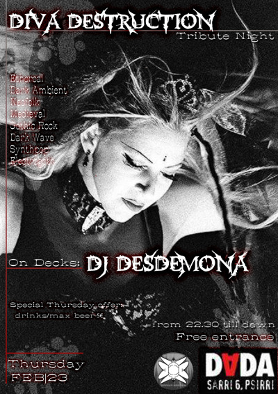 Poster made for Desdemona/ Diva Destruction tribute @Dada