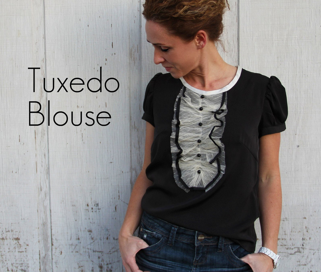 littlecraziness:  (via KRISTINA J.: How to Make a Tuxedo Blouse)