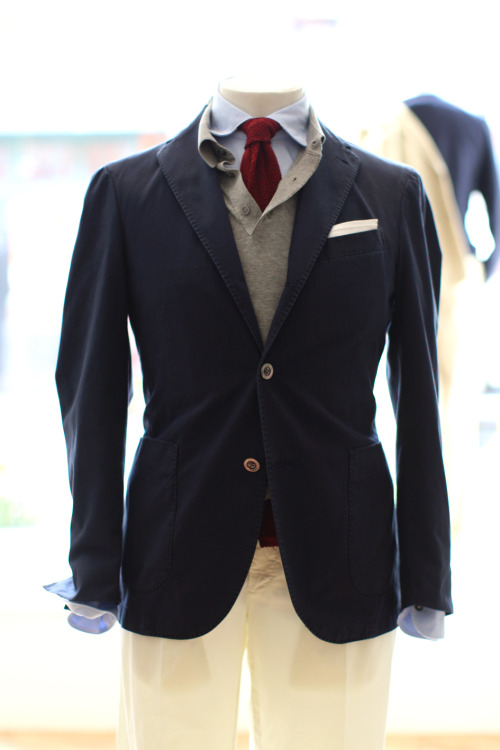 jhilla:  Boglioli @ Trunk Clothiers. Always loved the pairing of a lightweight collared knit shirt as a substitute for a normal sweater.