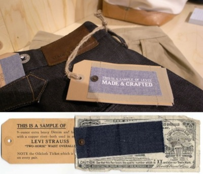 "Levi's Made & Crafted - History Back in the days, it was common practice for Levi's representatives to personally travel to stores that were not yet carrying their brand, bringing with them a suitcase filled with a selection of their fine products. After personally taking the store owner through the offering, they would leave a sample of the key elements that make a pair of Levi's jeans ""positively superior"": the Cone denim, the Oilcloth Guarantee Ticket and of course a copper rivet to hold it all together. This salesman sample was in use from around 1908 up until the early 1930's and they thought it would be nice to revisit this particular bit of  history and base Levi's® Made & Crafted™ branding and hang tag on it. Levi's Made & Crafted recently opened a pop-up shop at Smith + Butler on 225 Smith Street Brooklyn, NY 11231"