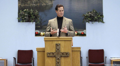 "nonplussedbyreligion:  divineirony: Santorum Takes Climate Change Denial To A Biblical Level Climate change denial has become a litmus test for modern Republicans, but Rick Santorum, in his fondness for melding faith and government, has become one of the precious few to cite the Bible as evidence that the science-accepting crowd has it all wrong — and apparently the first to bring that thinking to the presidential stage. ""We were put on this Earth as creatures of God to have dominion over the Earth, to use it wisely and steward it wisely, but for our benefit not for the Earth's benefit,"" Santorum told a Colorado crowd earlier this month. He went on to call climate change ""an absolute travesty of scientific research that was motivated by those who, in my opinion, saw this as an opportunity to create a panic and a crisis for government to be able to step in and even more greatly control your life."" Read More  THE ENTIRE WORLD IS WATCHING THIS HAPPEN IN AMERICA! THE ENTIRE WORLD! Yes that was in all caps because I was yelling.  I'm so embarrassed and I'm not the one saying this shit.  But people will say, ""Americans are stupid"" not just Santorum and his ilk.  I can't not blog about politics because our politicians have turned into televangelists.  Un-freaking-believable!  ~ Kim"