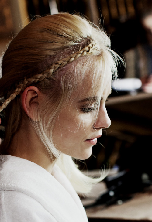 Blond beauty backstage at Marchesa