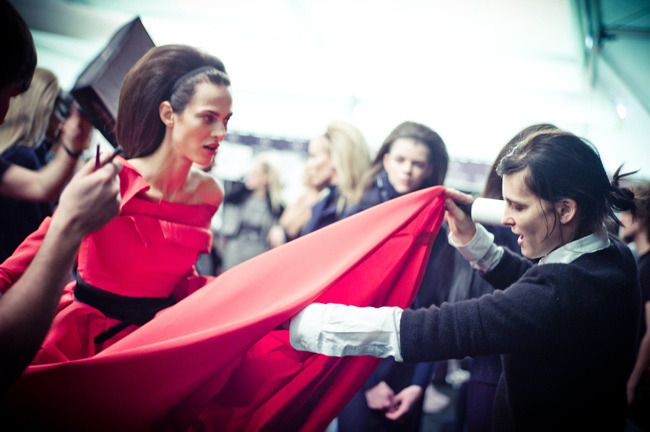 Aymeline Valade with Tabitha Simmons backstage at Carolina Herrera. See our NYTimes T story here