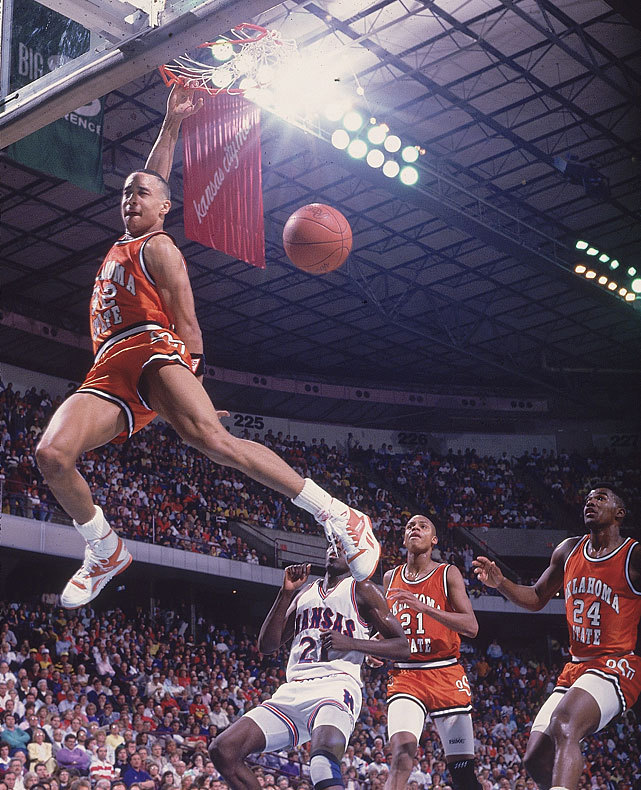 Oklahoma State guard John Starks breaks free for a dunk during a 1988 Big Eight Tournament game against Kansas. (David E. Klutho/SI) SI VAULT: Knicks guard John Starks is explosive, sometimes too much (5.17.93)
