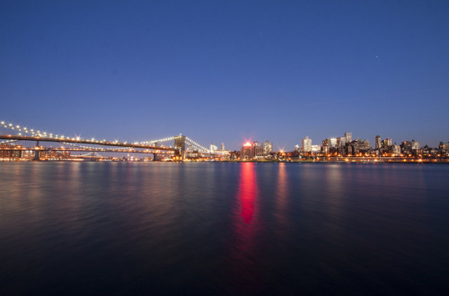 Brooklyn Bridge and Brooklyn Heights. View from Harbour Lights, Financial District in February 2012.