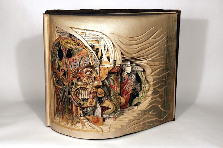 curiositycounts:  Brian Dettmer's surgical book sculptures, meticulously carved into vintage volumes and hand-cut one page at a time.  This is simply one of the greatest creations, repurposed or not, that I have ever seen. I can not fathom how long this would take. Bravo.