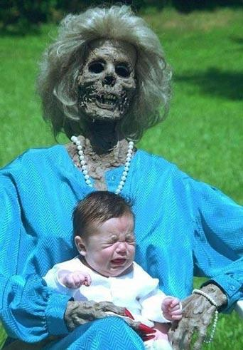 Getting your babies picture taken with a zombie is a great idea!
