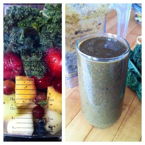 yackattack:  My massive morning smoothie AKA this is what happens when you blend the colors of the rainbow together! 😝 #vegan #raw #ugly #food (Taken with instagram) That's Estilo!