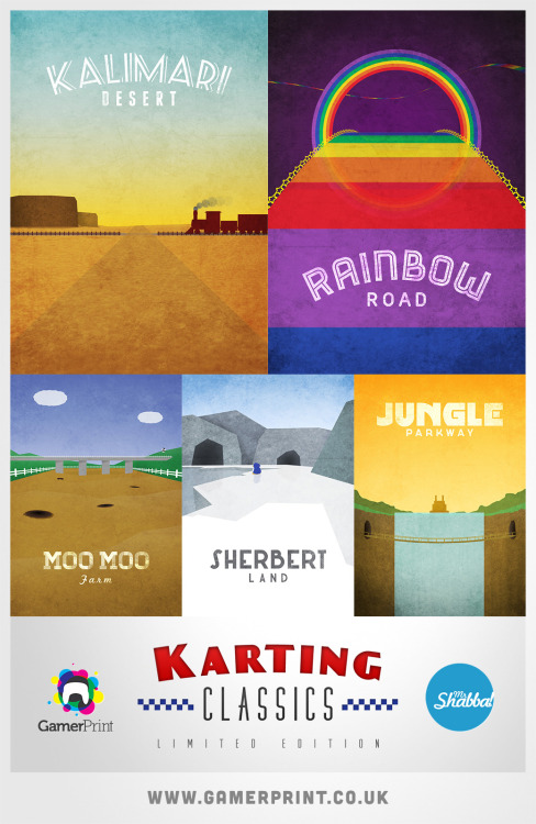 gamefreaksnz:  Karting Classics Posters by Dean Walton  Following on from my Zelda inspired designs, these posters are a loving homage to some of my favourite tracks from Mario Kart 64! Now available in a range of sizes in poster or canvas form at GamerPrint.