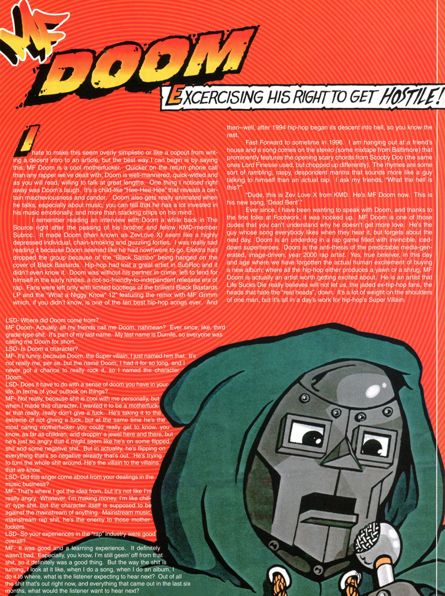 MF Doom interviewed by Pete Vuckovich for Life Sucks Die (1999). Artwork by Lord Scotch 79. Click here for the full interview