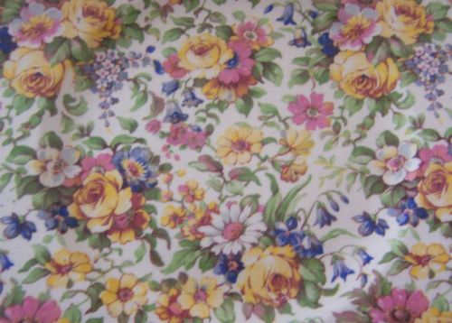 ub-sessed:  Chintz is glazed calico cloth printed with flowers and other patterns in different colours. Chintz was originally a woodblock printed, painted or stained calico produced in India from 1600 to 1800 and popular for bed covers, quilts and draperies. By 1680 more than a million pieces of chintz were being imported into England per year, and a similar quantity was going to France and Holland. Etymology:	earlier chints, plural (taken as singular) of earlier chint, from Hindi chit