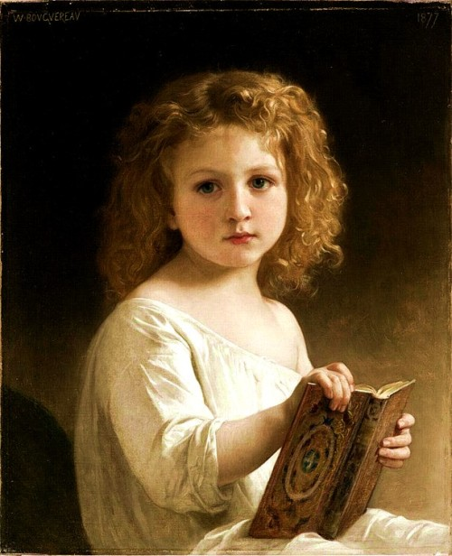 "beautifuldavinci:  William-Adolphe Bouguereau (November 30, 1825 – August 19, 1905) A French academic painter. William Bouguereau was a traditionalist; in his realistic genre paintings he used mythological themes, making modern interpretations of Classical subjects, with an emphasis on the female human body. In 1856, he married Marie-Nelly Monchablon and subsequently had five children. By the late 1850s, he had made strong connections with art dealers, particularly Paul Durand-Ruel (later the champion of the Impressionists), who helped clients buy paintings from artists who exhibited at the Salons. Thanks to Paul Durand-Ruel, Bouguereau met Hugues Merle, who later often was compared to Bouguereau. The Salons annually drew over 300,000 people, providing valuable exposure to exhibited artists. Bouguereau's fame extended to England by the 1860s, and he bought a large house and studio in Montparnasse with his growing income. Near the end of his life he described his love of his art: ""Each day I go to my studio full of joy; in the evening when obliged to stop because of darkness I can scarcely wait for the next morning to come…if I cannot give myself to my dear painting I am miserable"". He painted eight hundred and twenty-six paintings. In the spring of 1905, Bouguereau's house and studio in Paris were robbed. On August 19, 1905, Bouguereau died in La Rochelle at the age of 79 from heart disease.  I like her poignant expression."