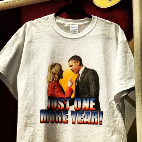 Spotted in Phoenix: the Jan Brewer/Obama confrontation in t-shirt form (Taken with instagram)