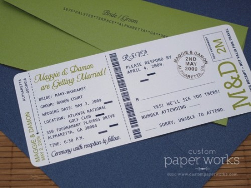 vowsandcake:  Wedding invitations printed like a boarding pass, with a perforated edge for the RSVP card. Perfect for a destination wedding…