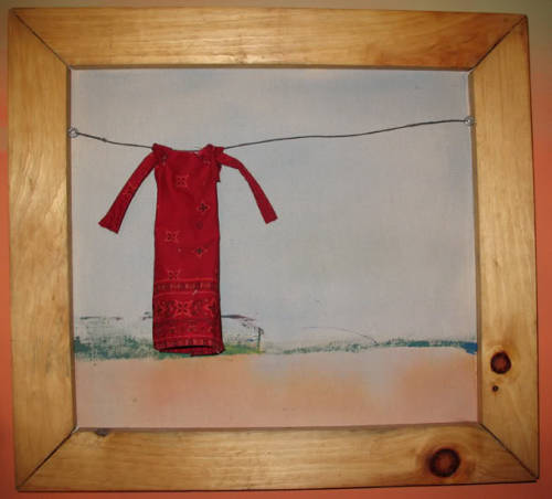 """Clothesline""  Multimedia painting made while living on a communal farm in Virginia Tikva Adler: http://www.etsy.com/shop/recyclosaurus"