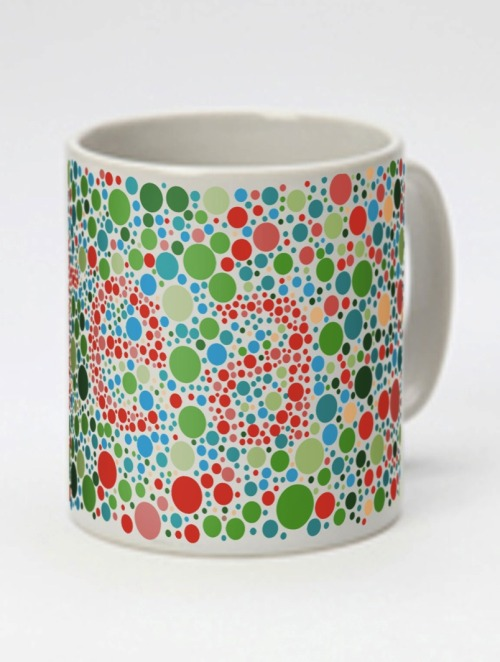 Colour blind mug tea from bout based on the Ishihara Color Test.