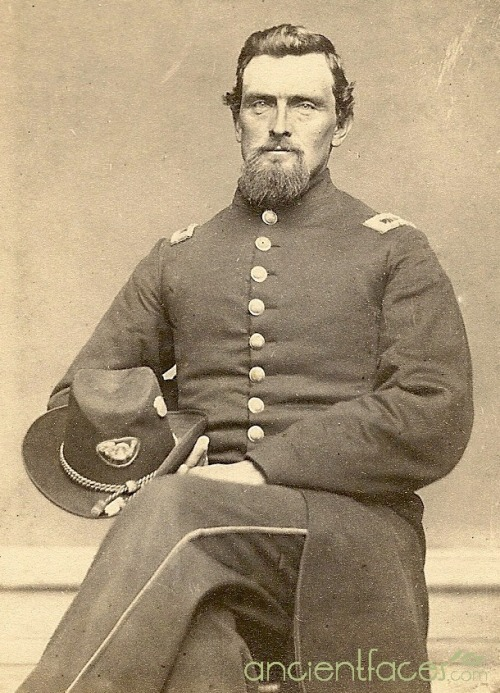ancientfaces:    Isaac Allen, Civil War - 1865Isaac Allen, 1st lieutenant of Company G, 76th Pennsylvania Infantry in the United States Civil War, 1865. [ Source Isaac Allen Civil War - 1865 ]