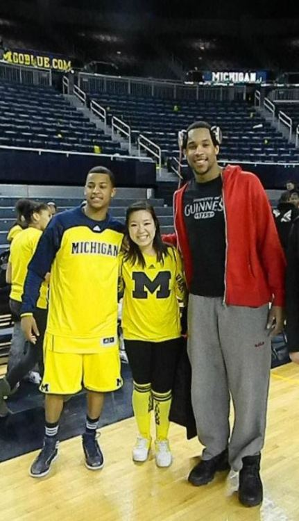With Trey Burke and Jared Sullinger!  The two best friends that go to rival schools but can still maintain their friendship. Sullinger was so so nice when I met him. And this was after Ohio State lost to us. So for him to be so gracious and nice was admirable and I really appreciated it as a Michigan fan.